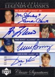 2004-05 UD Legends Classics Signatures #QC2 Gordie Howe/Guy Lafleur/Mike Bossy/Jari Kurri