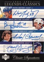 2004-05 UD Legends Classics Signatures #QC4 Wayne Gretzky/Bryan Trottier/Gilbert Perreualt/Marcel Dionne