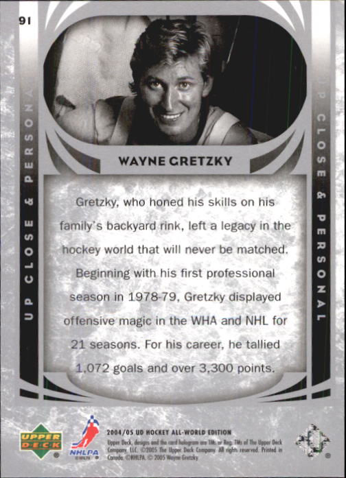 2004-05 UD All-World #91 Wayne Gretzky UCP back image