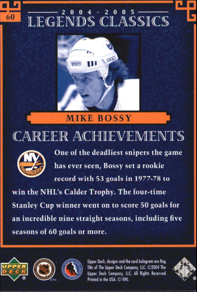 2004-05 UD Legends Classics #60 Mike Bossy back image