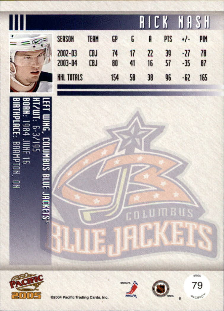 2004-05 Pacific #79 Rick Nash back image