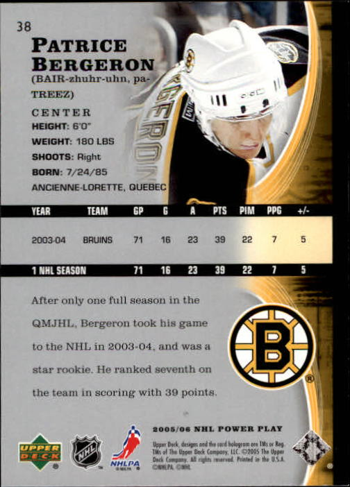 2005-06 Upper Deck Power Play #38 Patrice Bergeron back image