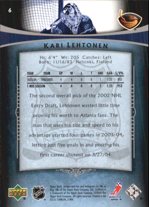 2005-06 Artifacts #6 Kari Lehtonen back image