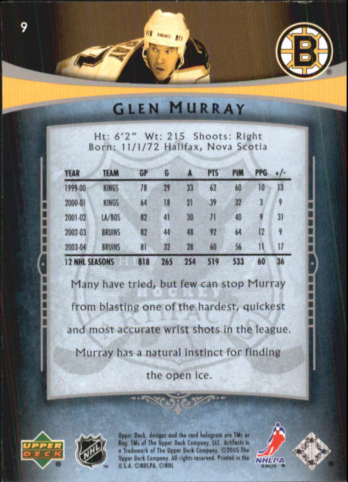2005-06 Artifacts #9 Glen Murray back image