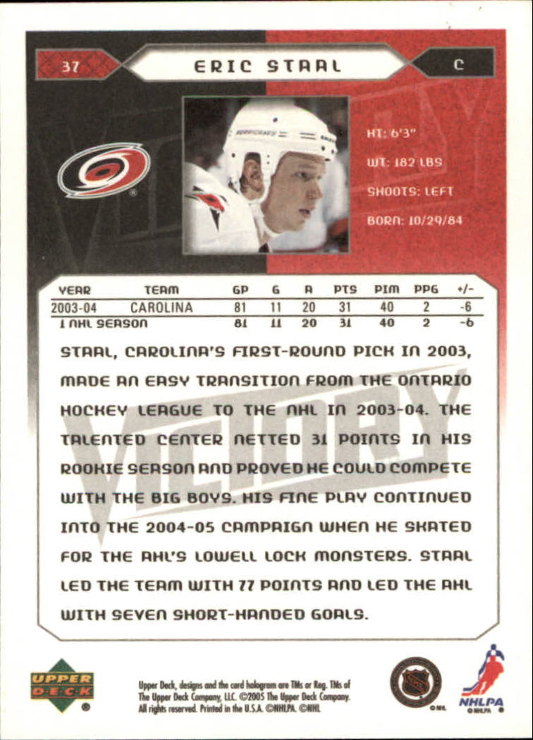2005-06 Upper Deck Victory #37 Eric Staal back image