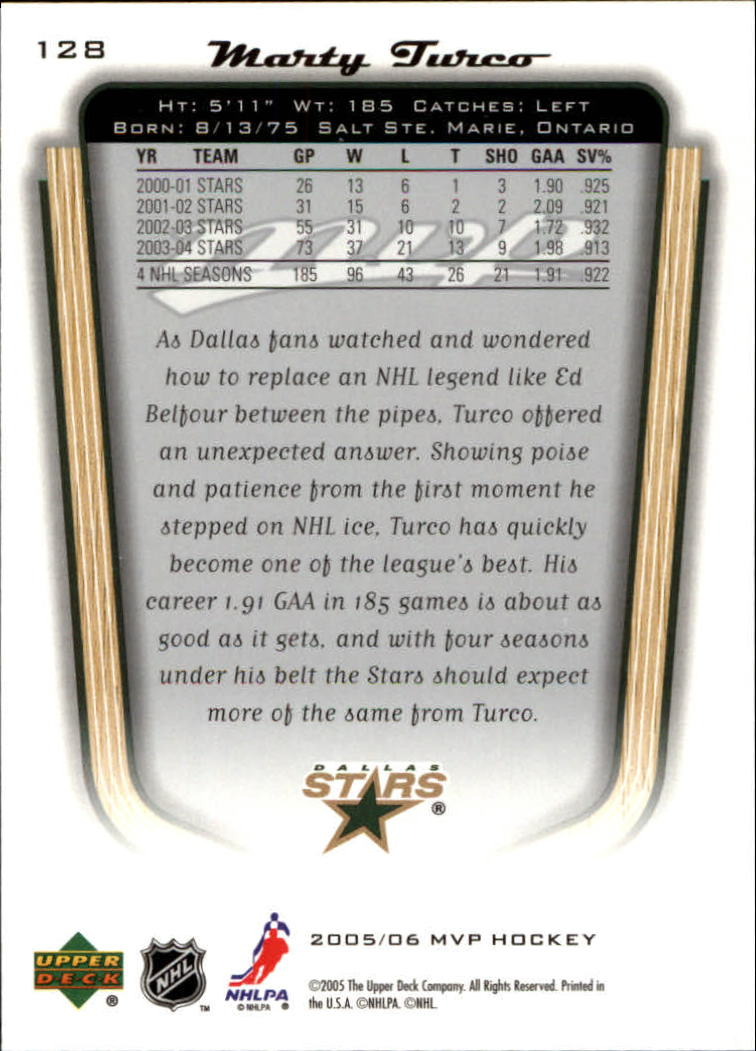 2005-06 Upper Deck MVP #128 Marty Turco back image