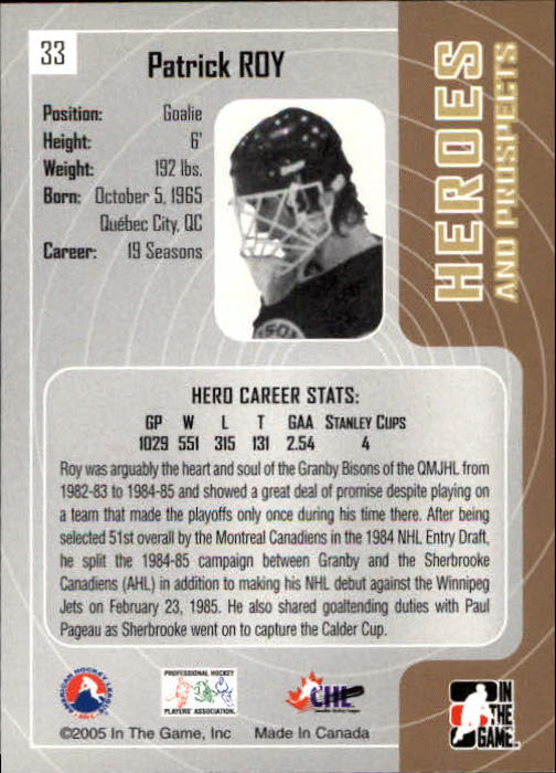 2005-06 ITG Heroes and Prospects #33 Patrick Roy back image