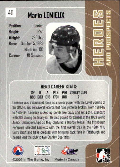 2005-06 ITG Heroes and Prospects #40 Mario Lemieux back image