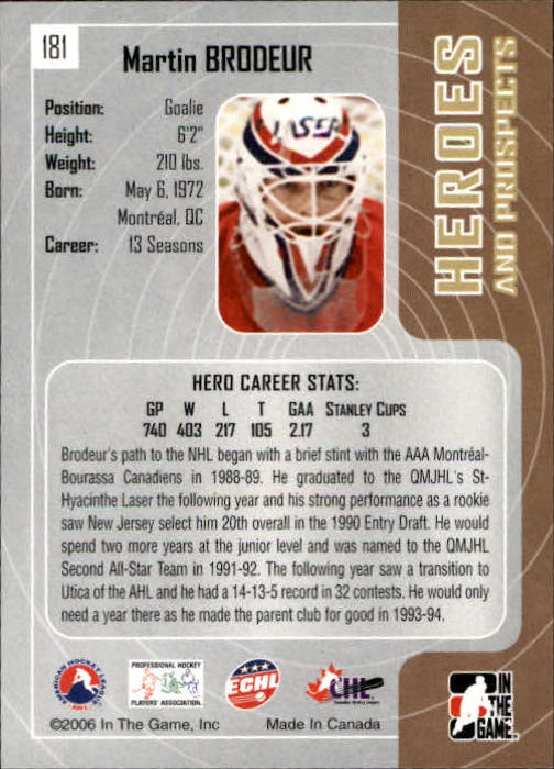 2005-06 ITG Heroes and Prospects #181 Martin Brodeur back image