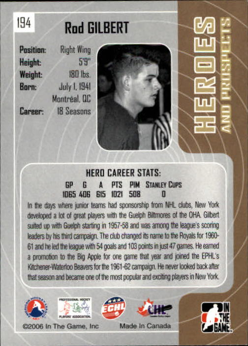 2005-06 ITG Heroes and Prospects #194 Rod Gilbert back image