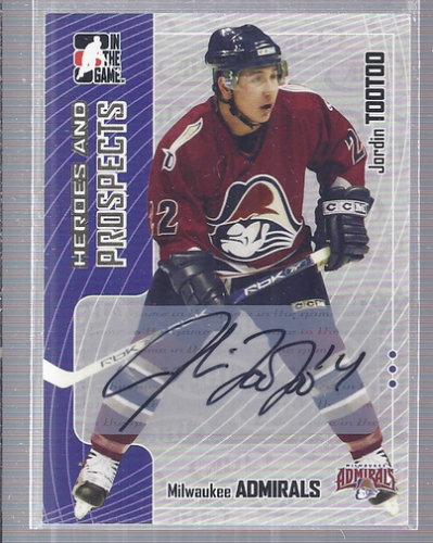 2005-06 ITG Heroes and Prospects Autographs #AJTO Jordin Tootoo