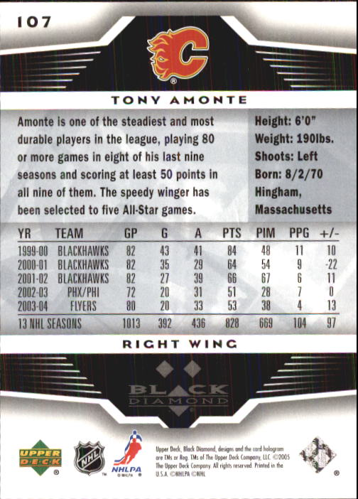 2005-06 Black Diamond #107 Tony Amonte back image