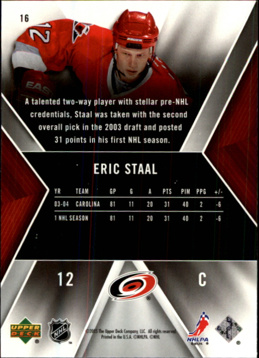 2005-06 SPx #16 Eric Staal back image