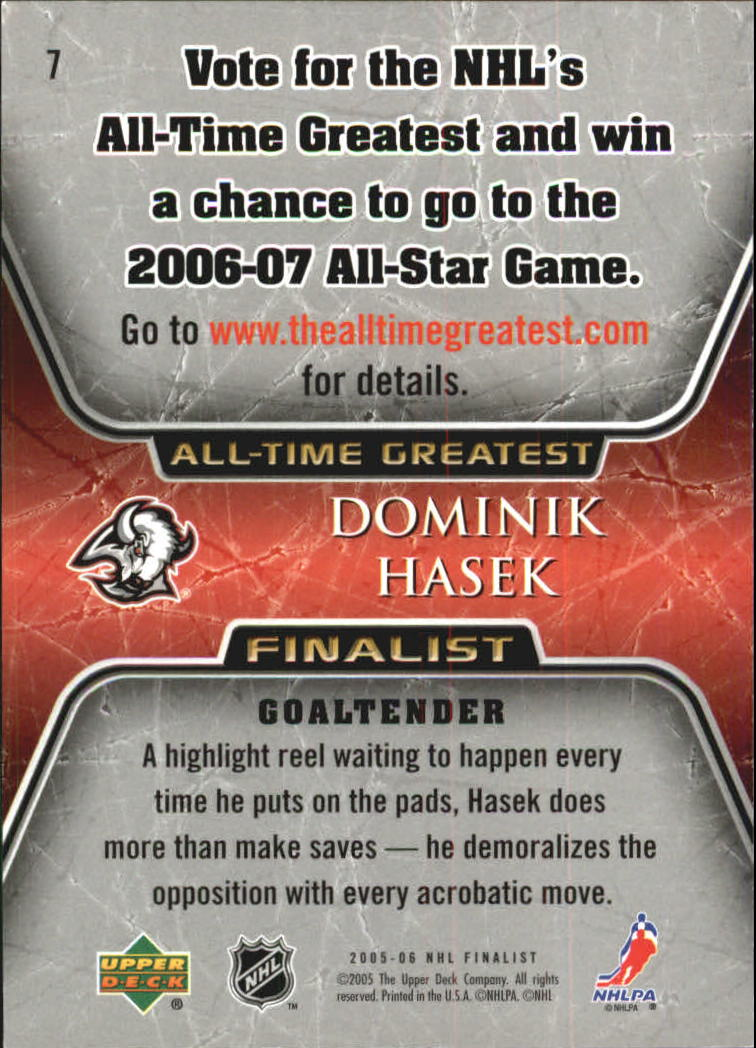 2005-06 Upper Deck All-Time Greatest #7 Dominik Hasek back image