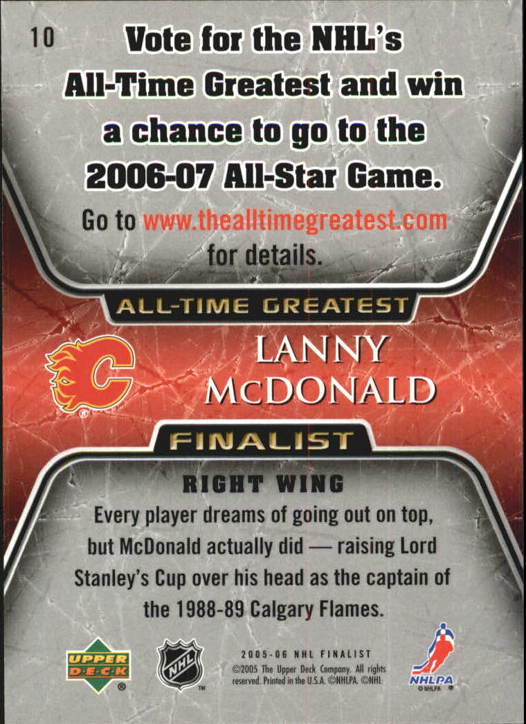 2005-06 Upper Deck All-Time Greatest #10 Lanny McDonald back image