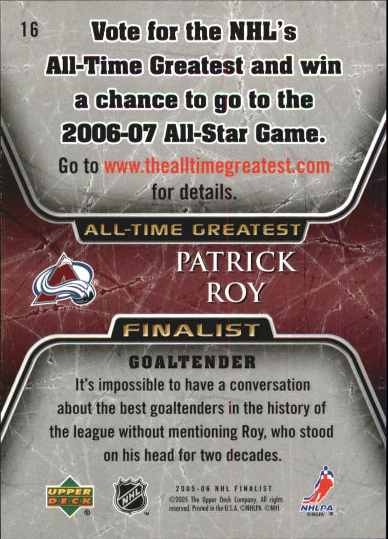 2005-06 Upper Deck All-Time Greatest #16 Patrick Roy back image