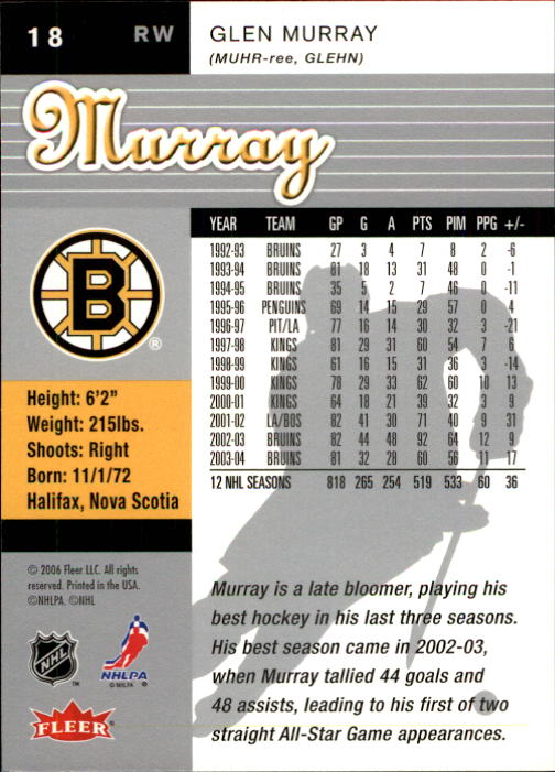 2005-06 Ultra #18 Glen Murray back image