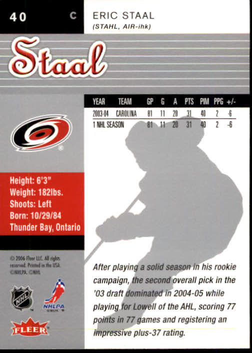 2005-06 Ultra #40 Eric Staal back image