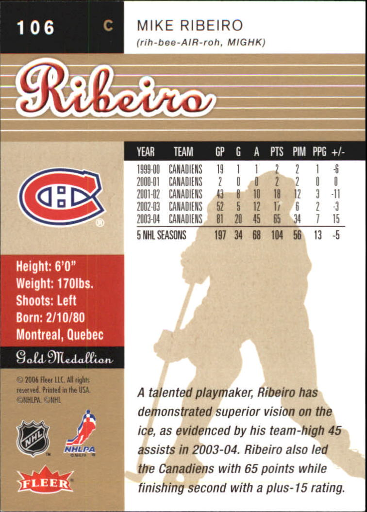 2005-06 Ultra Gold #106 Mike Ribeiro back image
