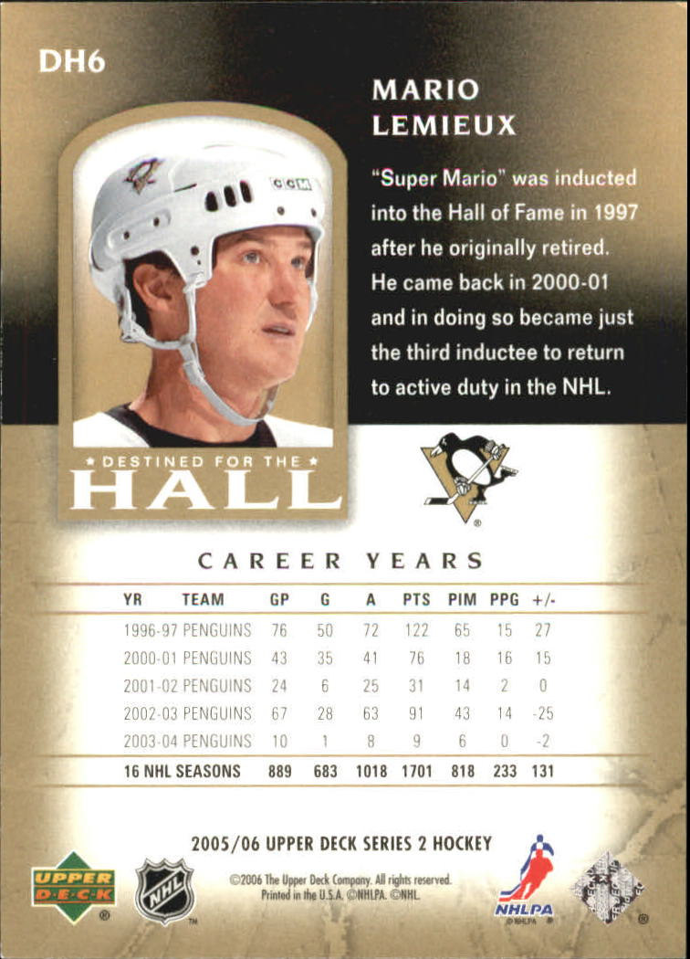 2005-06 Upper Deck Destined for the Hall #DH6 Mario Lemieux back image