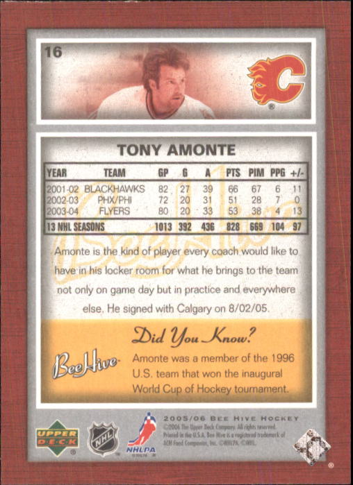 2005-06 Beehive #16 Tony Amonte back image