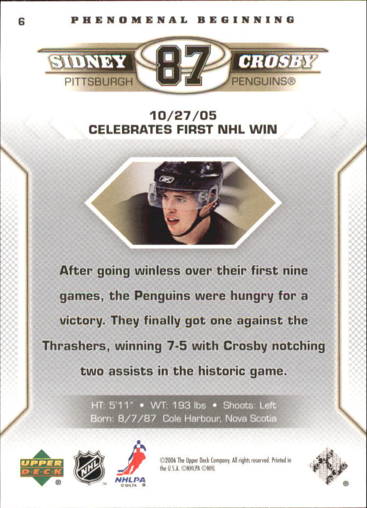 2005-06 Upper Deck Phenomenal Beginnings #6 Sidney Crosby back image
