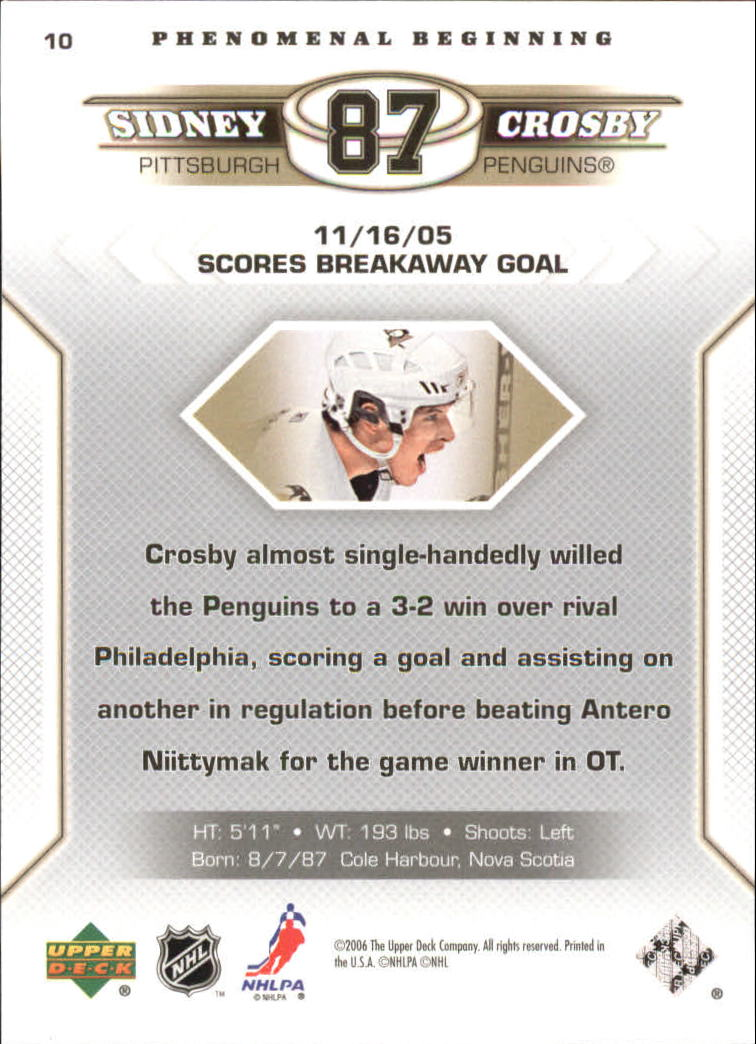 2005-06 Upper Deck Phenomenal Beginnings #10 Sidney Crosby back image