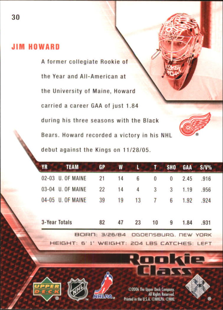 2005-06 UD Rookie Class #30 Jim Howard back image