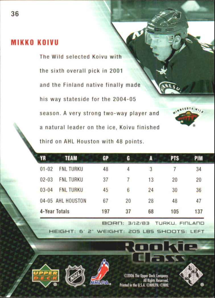 2005-06 UD Rookie Class #36 Mikko Koivu back image