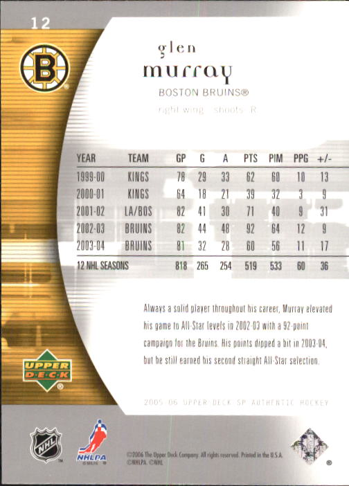 2005-06 SP Authentic #12 Glen Murray back image