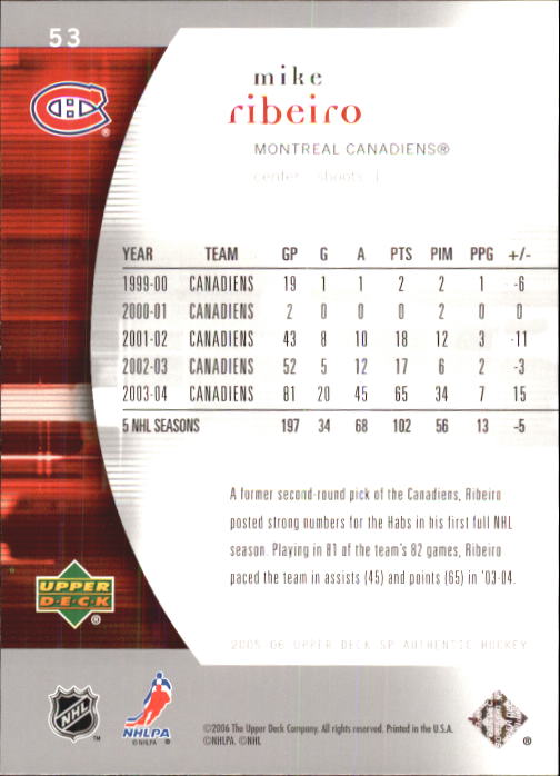 2005-06 SP Authentic #53 Mike Ribeiro back image