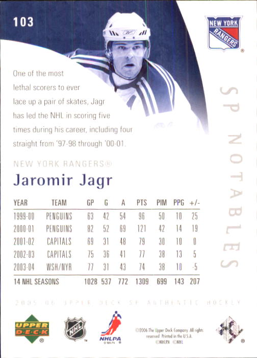2005-06 SP Authentic #103 Jaromir Jagr/999 back image