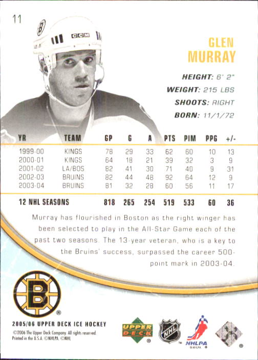 2005-06 Upper Deck Ice #11 Glen Murray back image