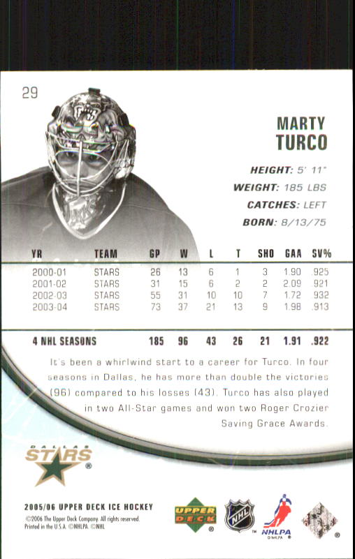 2005-06 Upper Deck Ice #29 Marty Turco back image