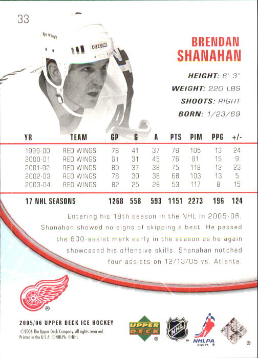 2005-06 Upper Deck Ice #33 Brendan Shanahan back image