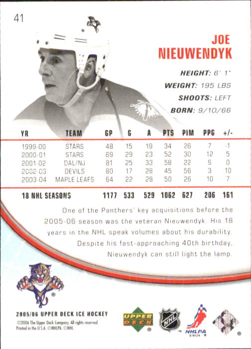2005-06 Upper Deck Ice #41 Joe Nieuwendyk back image