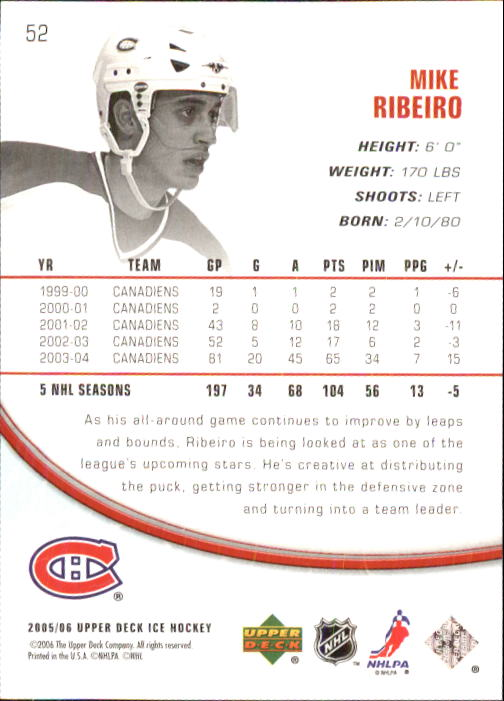 2005-06 Upper Deck Ice #52 Mike Ribeiro back image