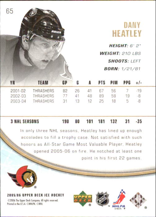 2005-06 Upper Deck Ice #65 Dany Heatley back image