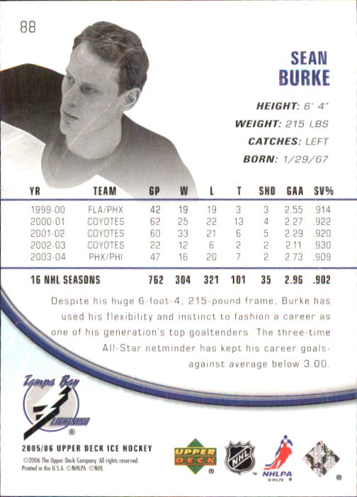 2005-06 Upper Deck Ice #88 Sean Burke back image