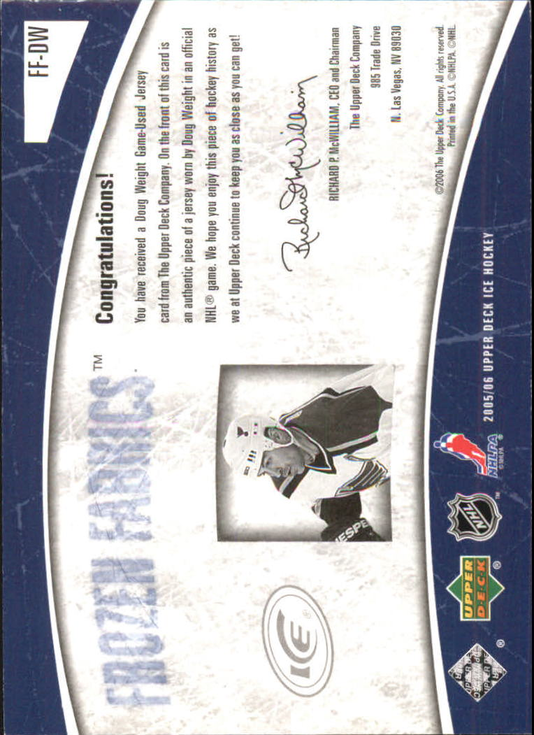 2005-06 Upper Deck Ice Frozen Fabrics #FFDW Doug Weight back image