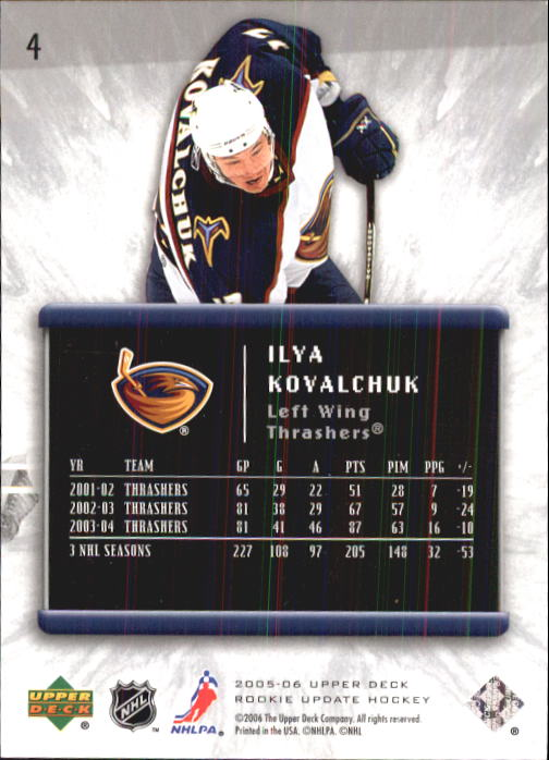 2005-06 Upper Deck Rookie Update #4 Ilya Kovalchuk back image