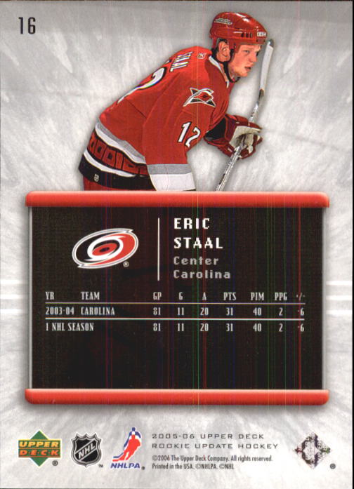 2005-06 Upper Deck Rookie Update #16 Eric Staal back image