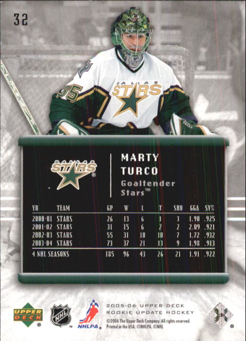 2005-06 Upper Deck Rookie Update #32 Marty Turco back image