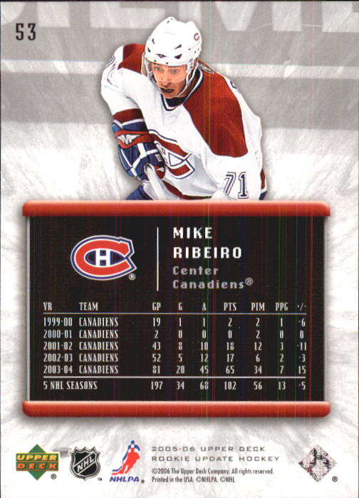 2005-06 Upper Deck Rookie Update #53 Mike Ribeiro back image