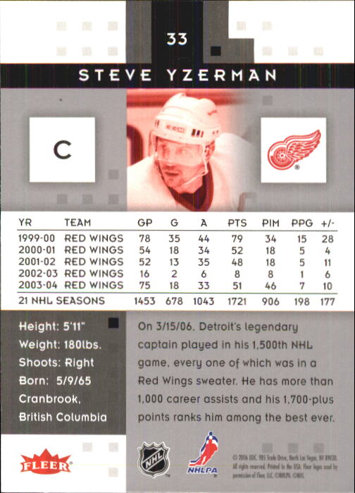 2005-06 Hot Prospects #33 Steve Yzerman back image