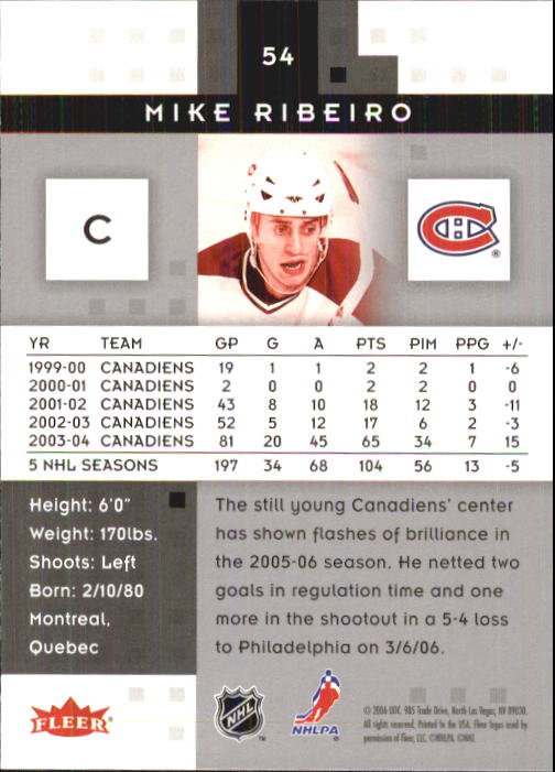 2005-06 Hot Prospects #54 Mike Ribeiro back image