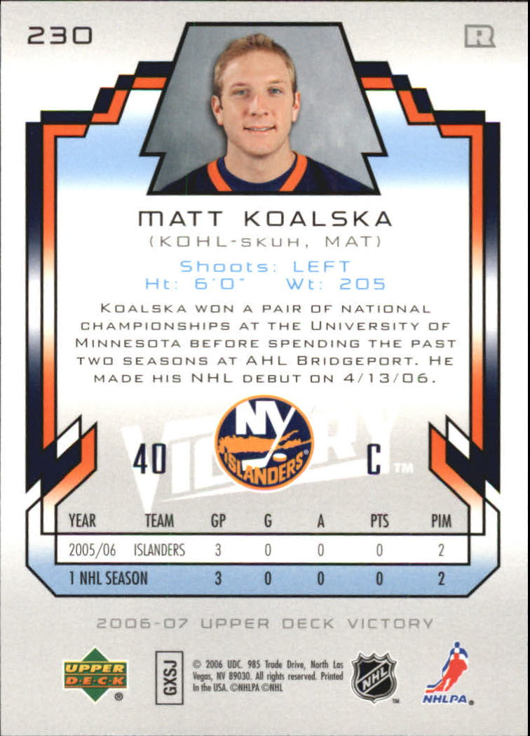 2006-07 Upper Deck Victory #230 Matt Koalska RC back image