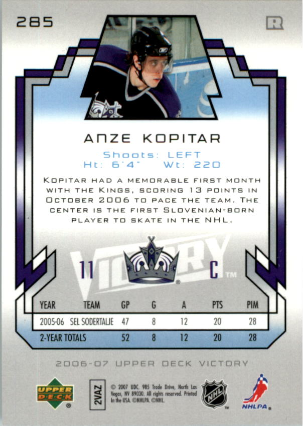 2006-07 Upper Deck Victory #285 Anze Kopitar RC back image