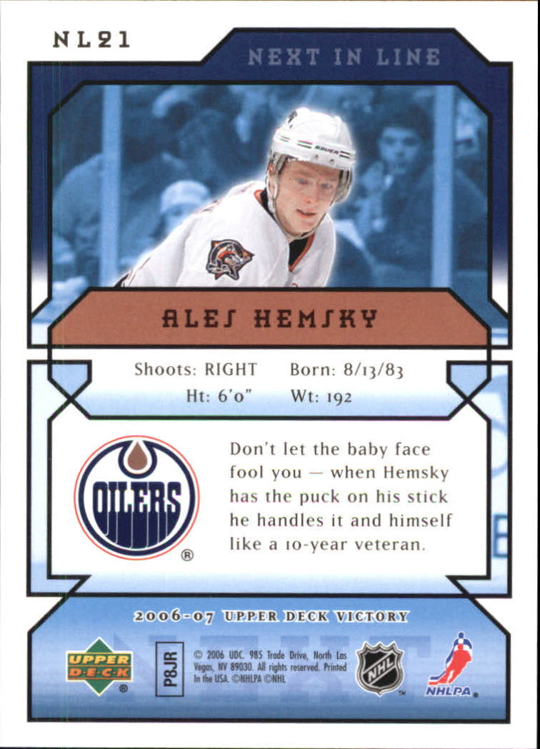 2006-07 Upper Deck Victory Next In Line #NL21 Ales Hemsky back image