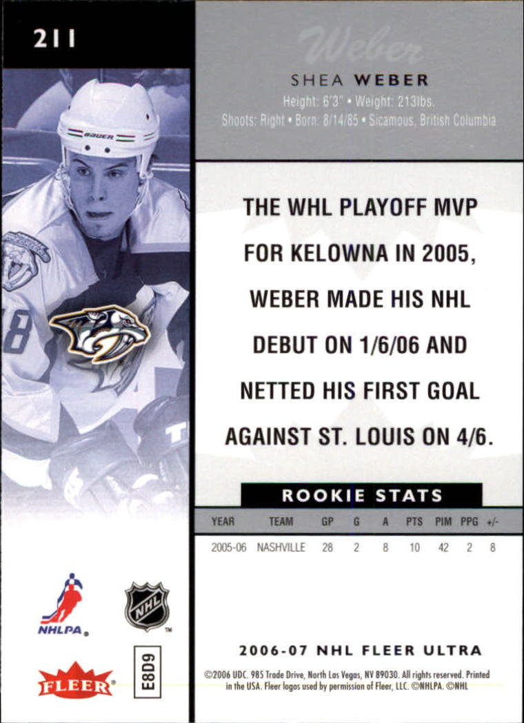 2006-07 Ultra #211 Shea Weber RC back image